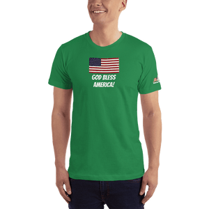 American Patriots Apparel Men's T-Shirt Kelly Green / XS God Bless America Distressed American Flag Short Sleeve T-Shirt (16 Variants)
