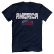 Load image into Gallery viewer, Print Brains Men's T-Shirt Navy / XS / Bella + Canvas US Made Cotton Crew AMERICA Hulk Font Distressed Flag Tee (6 Variants)