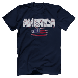 Print Brains Men's T-Shirt Navy / XS / Bella + Canvas US Made Cotton Crew AMERICA Hulk Font Distressed Flag Tee (6 Variants)