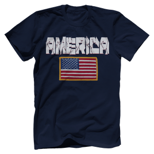 Print Brains Men's T-Shirt Navy / XS / Bella + Canvas US Made Cotton Crew AMERICA Hulk Font Official Army Flag Tee (6 Variants)
