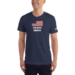 American Patriots Apparel Men's T-Shirt Navy / XS God Bless America Distressed American Flag Short Sleeve T-Shirt (16 Variants)