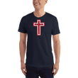 Load image into Gallery viewer, American Patriots Apparel Men's T-Shirt Navy / XS Red and White Cross T-Shirt (13 Variants)