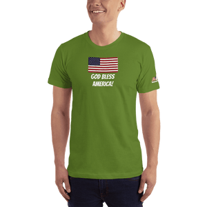 American Patriots Apparel Men's T-Shirt Olive / XS God Bless America Distressed American Flag Short Sleeve T-Shirt (16 Variants)