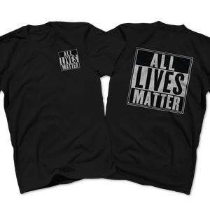 Print Brains Men's T-Shirt Port & Co US Made Cotton Tee / Black / S ALL Lives Matter Left Chest Tee (6 Variants)