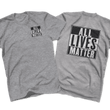 Load image into Gallery viewer, Print Brains Men's T-Shirt Port & Co US Made Cotton Tee / Heather Gray / S ALL Lives Matter Left Chest Tee (6 Variants)
