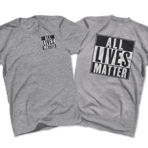 Print Brains Men's T-Shirt Port & Co US Made Cotton Tee / Heather Gray / S ALL Lives Matter Left Chest Tee (6 Variants)