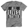Load image into Gallery viewer, Print Brains Men's T-Shirt Port & Co US Made Cotton Tee / Heather Gray / S ALL Lives Matter Tee (6 Variants)