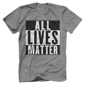 Print Brains Men's T-Shirt Port & Co US Made Cotton Tee / Heather Gray / S ALL Lives Matter Tee (6 Variants)