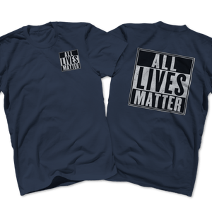 Print Brains Men's T-Shirt Port & Co US Made Cotton Tee / Navy / S ALL Lives Matter Left Chest Tee (6 Variants)