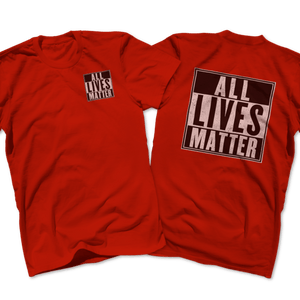 Print Brains Men's T-Shirt Port & Co US Made Cotton Tee / Red / S ALL Lives Matter Left Chest Tee (6 Variants)