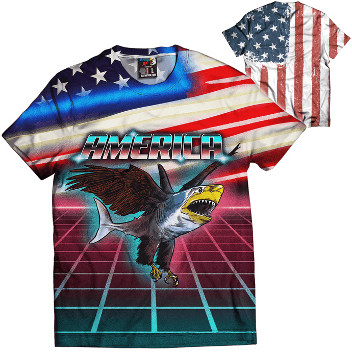 Print Brains Men's T-Shirt Retro Eagle Shark Tee / White / XS Retro Eagle Shark Tee