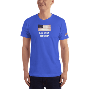 American Patriots Apparel Men's T-Shirt Royal Blue / XS God Bless America Distressed American Flag Short Sleeve T-Shirt (16 Variants)