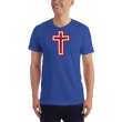 Load image into Gallery viewer, American Patriots Apparel Men's T-Shirt Royal Blue / XS Red and White Cross T-Shirt (13 Variants)