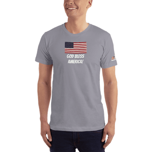 American Patriots Apparel Men's T-Shirt Slate / XS God Bless America Distressed American Flag Short Sleeve T-Shirt (16 Variants)
