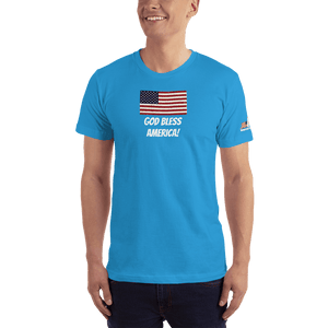 American Patriots Apparel Men's T-Shirt Teal / XS God Bless America Distressed American Flag Short Sleeve T-Shirt (16 Variants)
