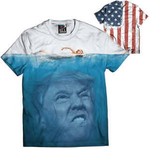 Print Brains Men's T-Shirt Trump Underwater Tee / White / XS Trump Underwater Tee