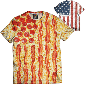 Print Brains Men's T-Shirt United States of Pizza Tee / White / XS United States of Pizza Tee