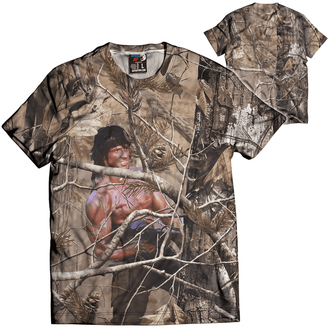 Print Brains Men's T-Shirt Unreal Tree: Rambo Tee / Military Green / XS Unreal Tree: Rambo Tee