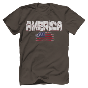 Print Brains Men's T-Shirt Warm Gray / XS / Bella + Canvas US Made Cotton Crew AMERICA Hulk Font Distressed Flag Tee (6 Variants)