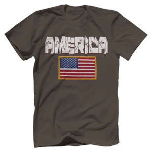 Print Brains Men's T-Shirt Warm Gray / XS / Bella + Canvas US Made Cotton Crew AMERICA Hulk Font Official Army Flag Tee (6 Variants)