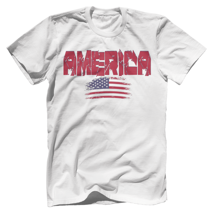 Print Brains Men's T-Shirt White / XS / Bella + Canvas US Made Cotton Crew AMERICA Hulk Font Distressed Flag Tee (6 Variants)