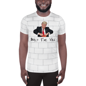 American Patriots Apparel Men's T-Shirt XS / White Trump Build The Wall Brick All-Over Print Men's Athletic T-Shirt