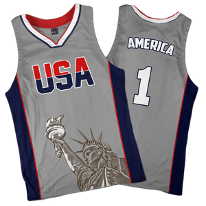 Print Brains Men's Tank Top America #1 Basketball Jersey / Gray / S America #1 Basketball Jersey (3 Variants)