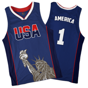 Print Brains Men's Tank Top America #1 Basketball Jersey / Navy / L America #1 Basketball Jersey (3 Variants)