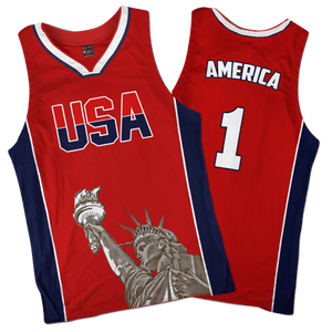 Print Brains Men's Tank Top America #1 Basketball Jersey / Red / S America #1 Basketball Jersey (3 Variants)