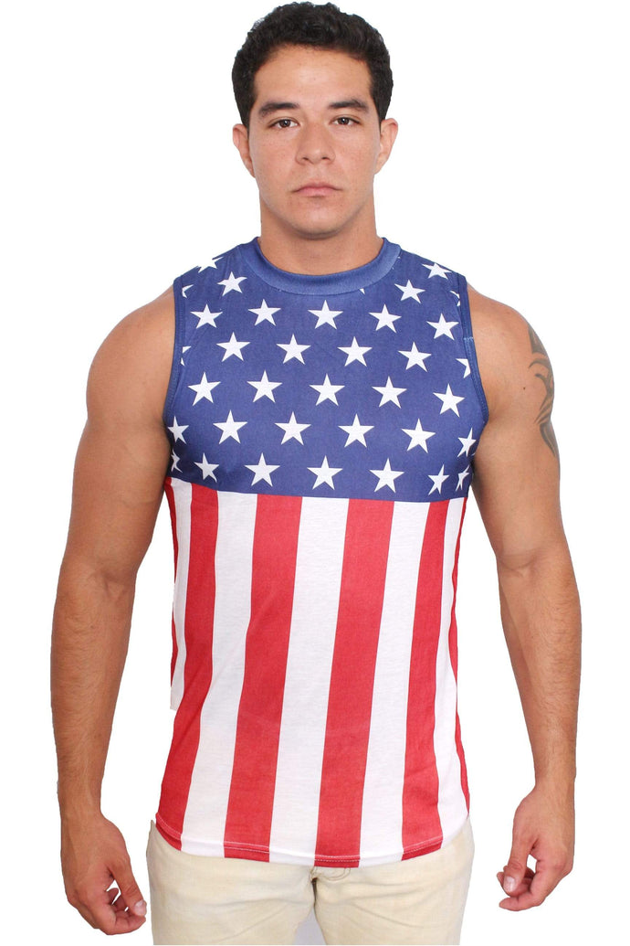 American Patriots Apparel Men's Tank Top American Flag / Medium USA Flag Men's Sleeveless Shirt Crew Neck Tank Top