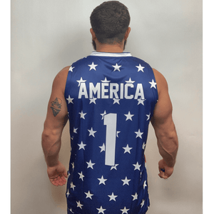 Print Brains Men's Tank Top Eagle America #1 Basketball Jersey