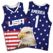 Load image into Gallery viewer, Print Brains Men's Tank Top Eagle America #1 Basketball Jersey / Royal Blue / S Eagle America #1 Basketball Jersey