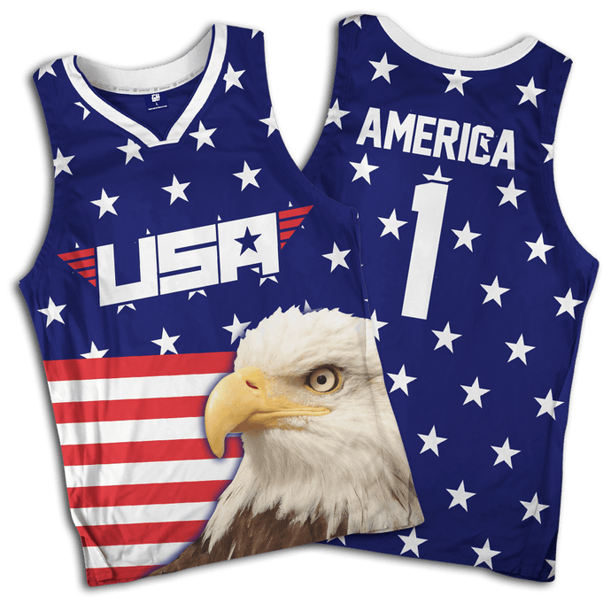 Print Brains Men's Tank Top Eagle America #1 Basketball Jersey / Royal Blue / S Eagle America #1 Basketball Jersey