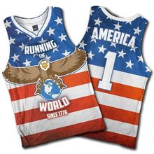 Load image into Gallery viewer, Greater Half Men's Tank Top S / American Flag Running the World Since 1776 Basketball Jersey2