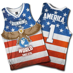 Greater Half Men's Tank Top S / American Flag Running the World Since 1776 Basketball Jersey2