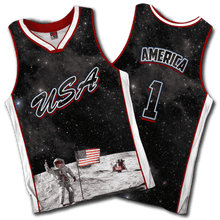 Load image into Gallery viewer, Greater Half Men's Tank Top S / Space Moon Flag USA Galaxy Basketball Jersey2