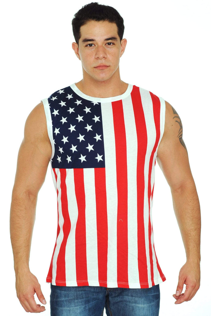 American Patriots Apparel Men's Tank Top USA / S New Men's Proud American United States Flag USA Sleeveless Tank Top