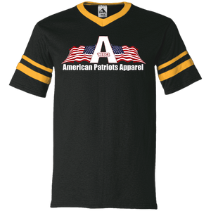 CustomCat Men's V-Neck T-Shirt Black/Gold / S American Patriots Apparel Wing Flag V-Neck Set-In Sleeves (12 Variants)