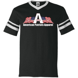 CustomCat Men's V-Neck T-Shirt Black/White / S American Patriots Apparel Wing Flag V-Neck Set-In Sleeves (12 Variants)