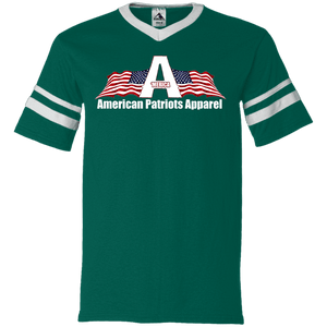 CustomCat Men's V-Neck T-Shirt Dark Green/White / S American Patriots Apparel Wing Flag V-Neck Set-In Sleeves (12 Variants)