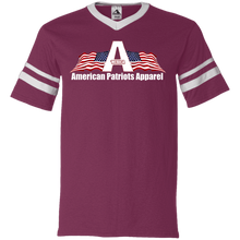 Load image into Gallery viewer, CustomCat Men's V-Neck T-Shirt Maroon/White / S American Patriots Apparel Wing Flag V-Neck Set-In Sleeves (12 Variants)