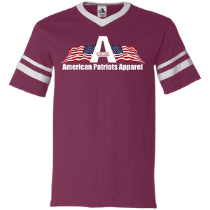 CustomCat Men's V-Neck T-Shirt Maroon/White / S American Patriots Apparel Wing Flag V-Neck Set-In Sleeves (12 Variants)