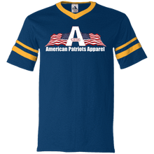 Load image into Gallery viewer, CustomCat Men's V-Neck T-Shirt Navy/Gold / S American Patriots Apparel Wing Flag V-Neck Set-In Sleeves (12 Variants)