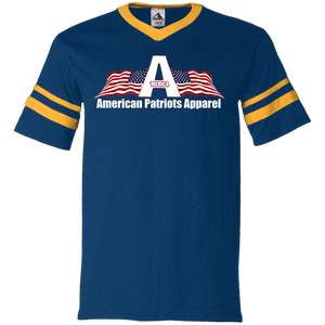 CustomCat Men's V-Neck T-Shirt Navy/Gold / S American Patriots Apparel Wing Flag V-Neck Set-In Sleeves (12 Variants)
