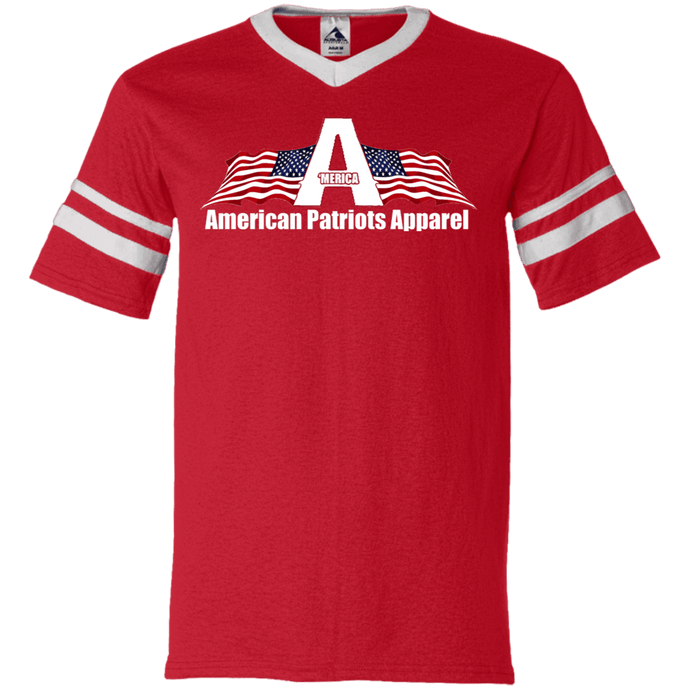 CustomCat Men's V-Neck T-Shirt Red/White / S American Patriots Apparel Wing Flag V-Neck Set-In Sleeves (12 Variants)