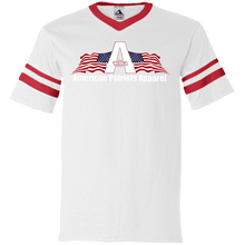 Load image into Gallery viewer, CustomCat Men's V-Neck T-Shirt White/Red / S American Patriots Apparel Wing Flag V-Neck Set-In Sleeves (12 Variants)