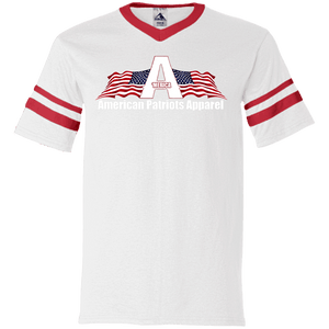 CustomCat Men's V-Neck T-Shirt White/Red / S American Patriots Apparel Wing Flag V-Neck Set-In Sleeves (12 Variants)