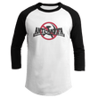 Load image into Gallery viewer, Print Brains Mens 3/4 Sleeve T-Shirt Augusta Colorblock Raglan Jersey / Black/White / S Anti-Antifa Black Text No Hammer & Sickle Raglan Jersey (16 Variants)