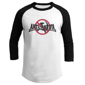 Print Brains Mens 3/4 Sleeve T-Shirt Augusta Colorblock Raglan Jersey / Black/White / S Anti-Antifa Black Text No Hammer & Sickle Raglan Jersey (16 Variants)
