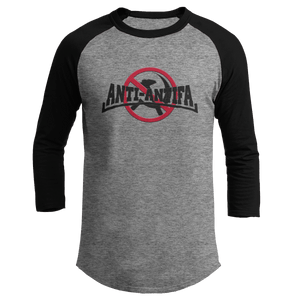 Print Brains Mens 3/4 Sleeve T-Shirt Augusta Colorblock Raglan Jersey / Heather Gray/Black / S Anti-Antifa Black Text No Hammer & Sickle Raglan Jersey (16 Variants)